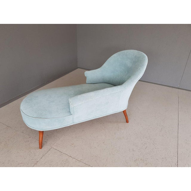 Upholstery Blue French Style Chaise Lounge For Sale - Image 10 of 13
