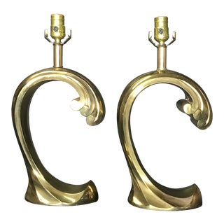 Brass Wave Table Lamps - a Pair For Sale