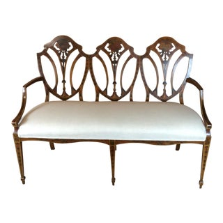 19th Century Antique English Painted Satin Wood Settee For Sale