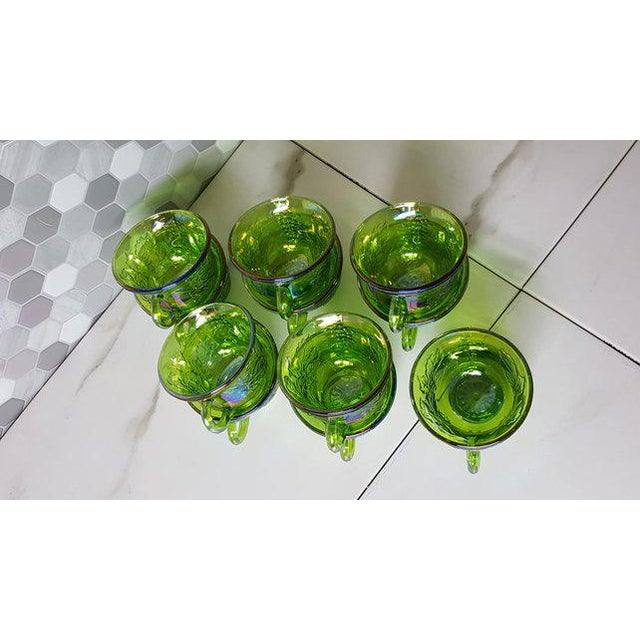 Glass 1970's Vintage Indiana Glass Company of Dunkirk Green Glasses- Set of 11 For Sale - Image 7 of 11