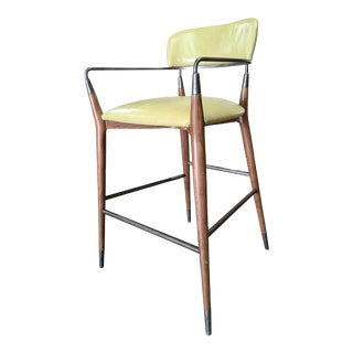 Henredon 1945 Collection Brushed Black Nickel Leather Madison Bar Stool (Customizable Leather) For Sale