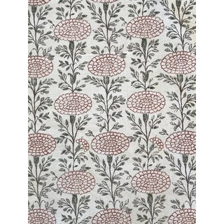 Lisa Fine Textiles Samode Poppy Linen Fabric - 4 Yards For Sale