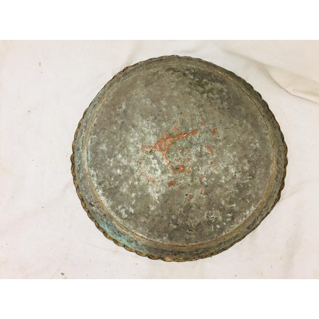 Antique Turkish Pounded Copper Platter For Sale In Raleigh - Image 6 of 8