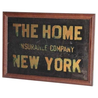 """1900's Vintage Reverse """"The Home Insurance Company New York"""" Glass Sign For Sale"""