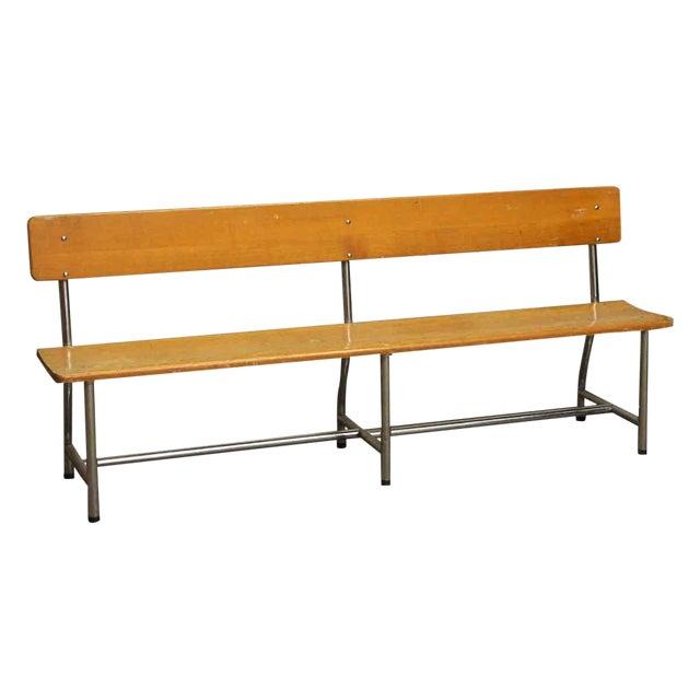 Auditorium Wood & Chrome Bench - Image 1 of 5