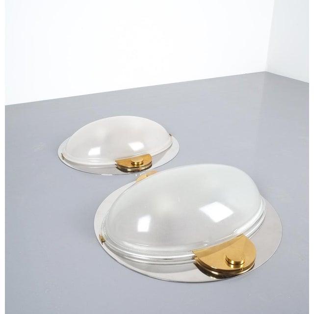 Luigi Caccia Dominioni Flush Mounts or Sconces Brass Chrome Glass, Circa 1978 For Sale - Image 6 of 13
