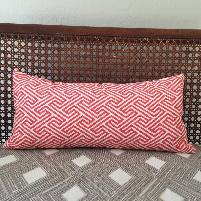 This bright and graphic lumbar pillow will add a dynamic punch to your fun home! The fabric is 100% linen in a poppy...