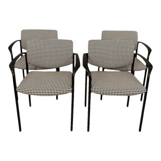 Mid Century Steel Case Heavy Dining Office Lounge Chairs With New Houndstooth Upholstery For Sale
