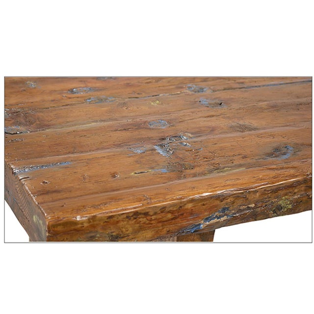 Reclaimed wood slab table chairish Where can i buy reclaimed wood near me