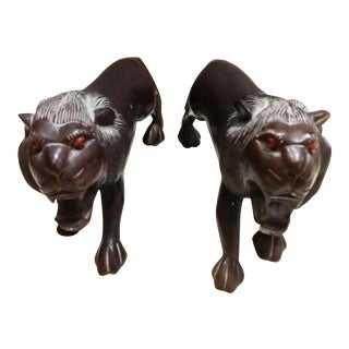 Carved Solid Wood Lion Figurine Statues - a Pair For Sale