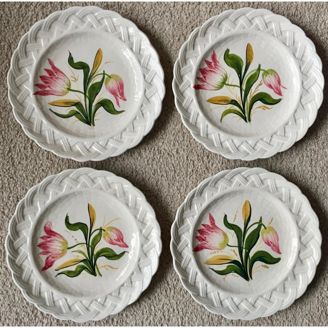 1960s Italian Faience Hand-Painted Tulip Plates-Set 8 For Sale - Image 5 of 13