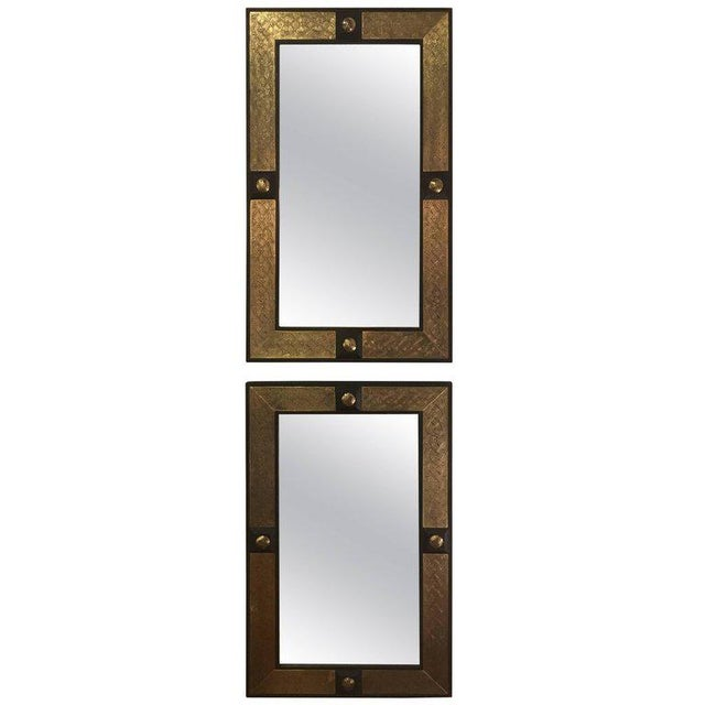 Gold Hollywood Regency Style Gold Brass Morrocan Mirrors - a Pair For Sale - Image 8 of 9