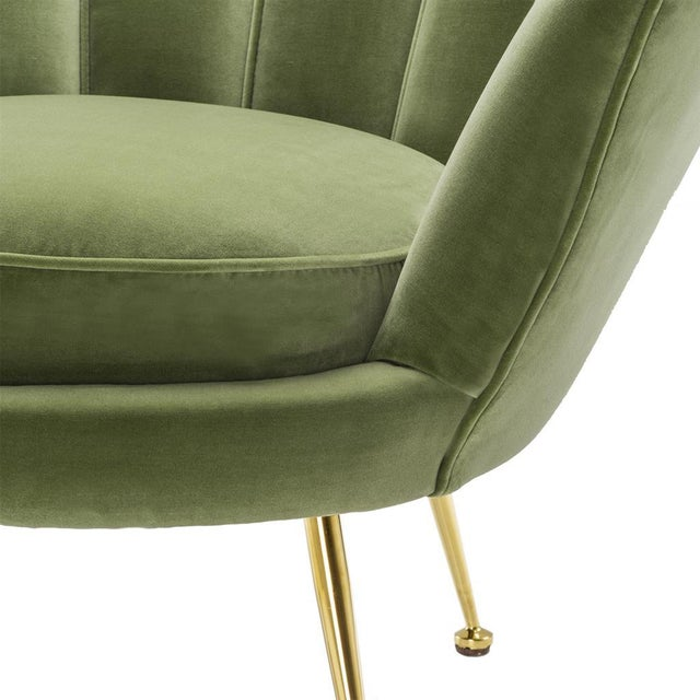 Modern Trapezium Green Shell Shaped Chair For Sale In Miami - Image 6 of 8