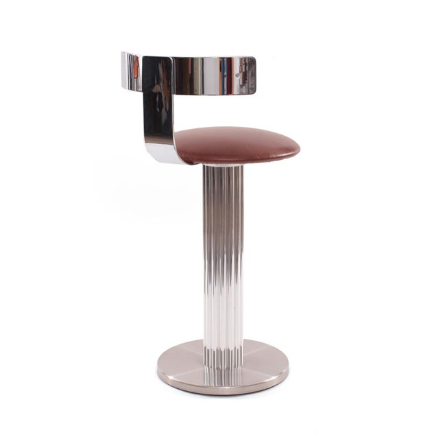 Four Leather and Chrome Barstools by Design For Leisure - Image 6 of 6