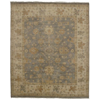 "Traditional Pasargad Ny Oushak Design Olive and Ivory Wool Hand Knotted Rug - 8'3"" X 9'10"""
