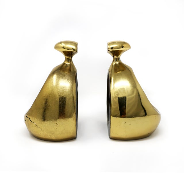 Jenfred Ware Pair of Ben Seibel Brass Bookends For Sale - Image 4 of 10