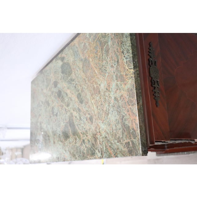 19th Century French Napoleon III Walnut Cabinet or Vetrine With Green Marble Top For Sale - Image 10 of 12