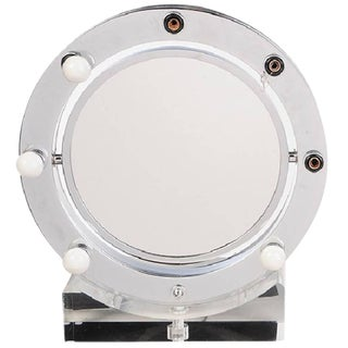 Lucite and Chrome Makeup Mirror With Magnifying Feature by Charles Hollis Jones For Sale