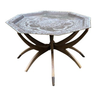 1950s Moroccan Brass Tray Table on Spider Folding Stand For Sale