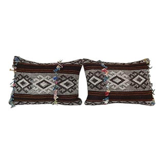 Vintage Goat Hair Anatolian Kilim Pillow Cover, Turkish Geometrical Pillow Cover, Tribal Home Decor 14'' X 20'' (35 X 50 Cm) For Sale