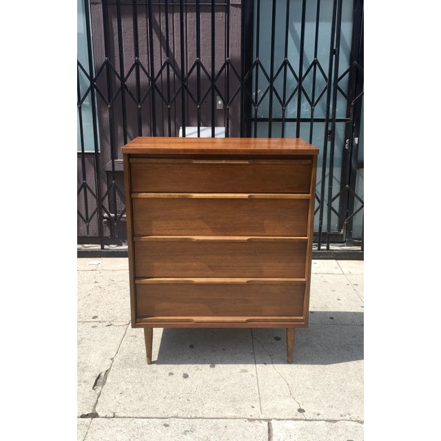 Mid-Century Highboy with Sculpted Pulls - Image 3 of 10