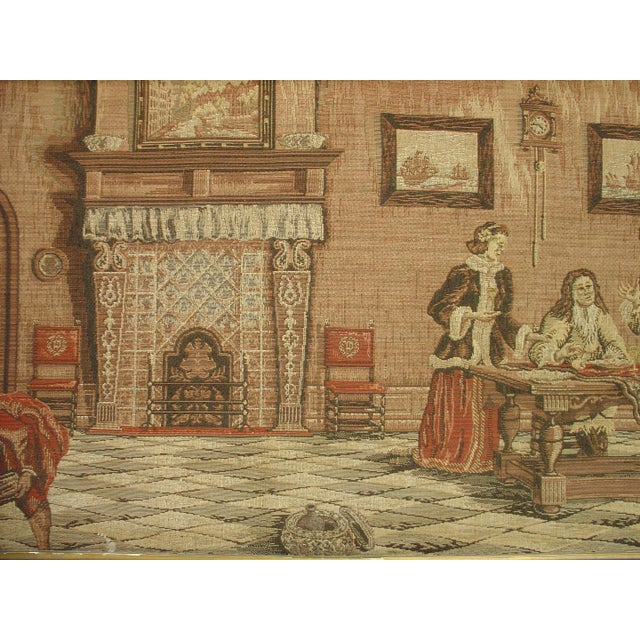 A Long Oak Framed French Tapestry Depicting an Interior Scene, Circa1900 For Sale - Image 10 of 10