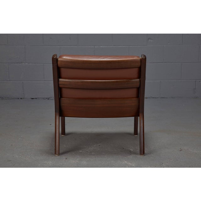 Mid-Century Modern Pair of Senator Chairs by Ole Wanscher in Brown Leather For Sale - Image 3 of 9