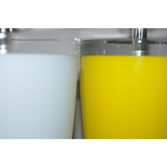 Vintage Murano Glass Table Lamps Yellow White For Sale In Little Rock - Image 6 of 7