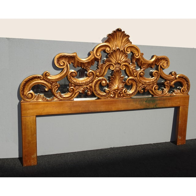 French Vintage French Provincial Louis XVI Rococo Gold King Headboard Mirror & Scrolls For Sale - Image 3 of 13
