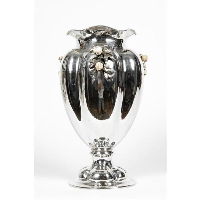 Art Nouveau Large Antique Sterling Silver Centerpiece / Flower Vase For Sale - Image 3 of 13