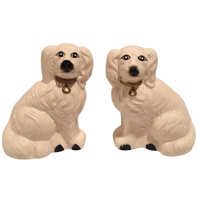 White Porcelain Dogs - A Pair - Image 1 of 6