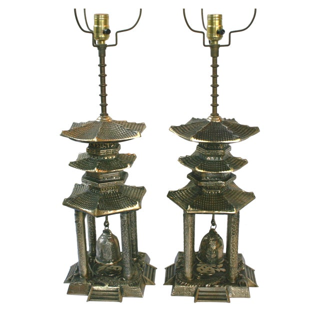 Vintage Brass Pagoda Lamps - A Pair For Sale