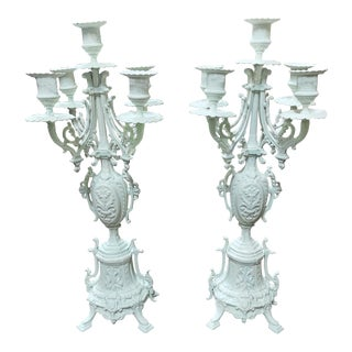 Antique Brass Painted White Candelabras - a Pair For Sale