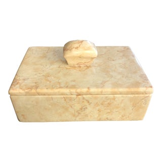 1980s Contemporary Maitland Smith Style Stone Stash Box For Sale