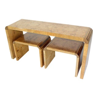 Burl Wood Mid-Century Modern Console Table by Henredon For Sale