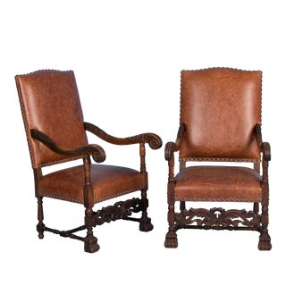 Late 19th Century Antique Danish Leather Upholstered Armchairs- A Pair For Sale