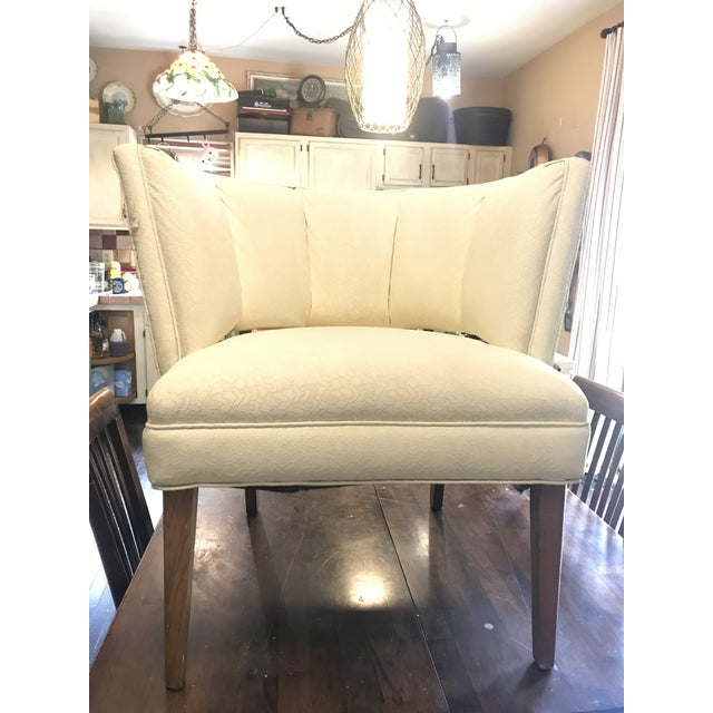 White 1950s Mid-Century Modern Padded Channel-Backed Club Chair For Sale - Image 8 of 9