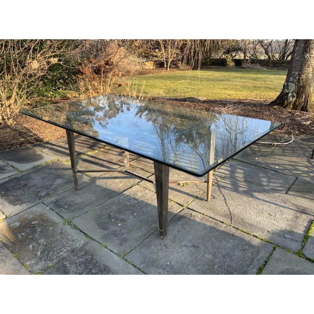 Mid 20th Century Vintage Glass Top and Steel Rectangular Dining Table For Sale - Image 5 of 12