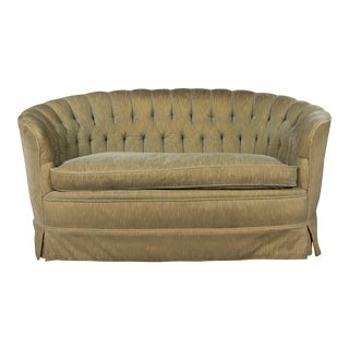 Small Tufted Sofa With Loose Seat Cushion For Sale