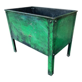 20th Century Green Painted Tin Container For Sale