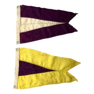 Vintage Nautical Signal Flags- a Pair For Sale