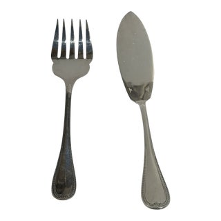 Christofel France Malmaison Silverplate Fish Serving Knife & Fork Flat Wear - Set of 2 For Sale