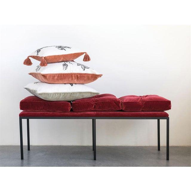 2010s Art Deco Velvet Bench For Sale - Image 5 of 6