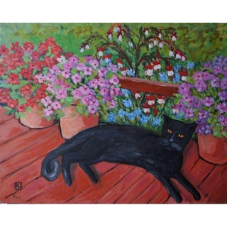 """Happy Cat on the Porch"" Original Acrylic Painting For Sale"