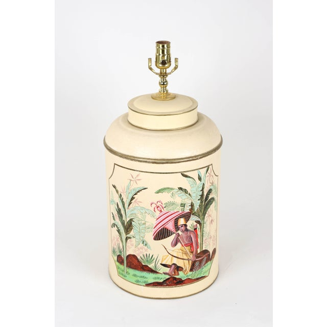 Chinese export to European tea caddy lamp. Cream color with hand painted African princess sitting by palm tree. It's so...