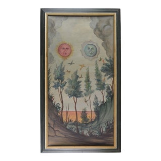 Vintage Original Canvas With the Face of the Moon and the Sun For Sale