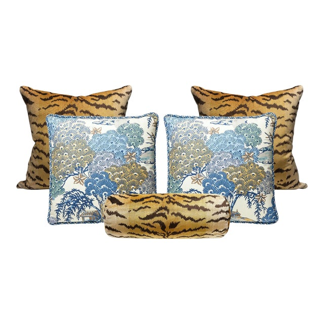Scalamandre Tigre and Green Sea of Trees Pillow Bundle - Set of 5 For Sale