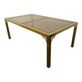 1960s Mid-Century Modern Mastercraft Brass Dining Table For Sale