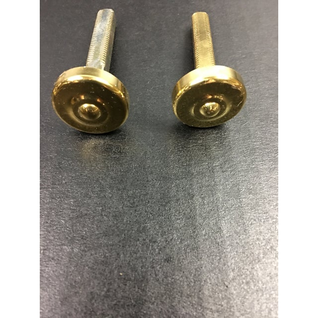 French 1980s Brass Door Pulls Traditional Floral Pattern - a Pair For Sale - Image 3 of 6