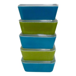 Pyrex Blue & Green Refrigerator Dishes - Set of 5